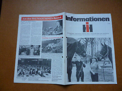 INTERNATIONAL HARVESTER COMPANY   Original alte Informationen der iH  1/78