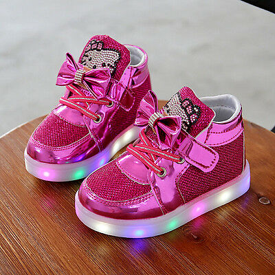 Kids Boys Girls LED Shoes Light Up Luminous Children Trainers Sport Sneakers##