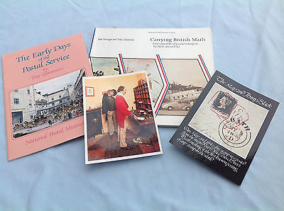 Postal history -TWO bks/Carrying British Mails/Early Days + TWO unused postcards