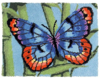 Blue Butterfly Printed Canvas Latch Hook Rug Kit - *NEW* Everything included