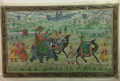 Antique Indian Handmade Mughal King Procession  Painting on Silk Cloth King Art