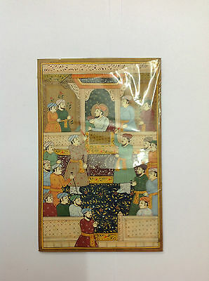 Vintage Handmade Oil Painting Mughal Court Miniature Sandalwood Home Decor