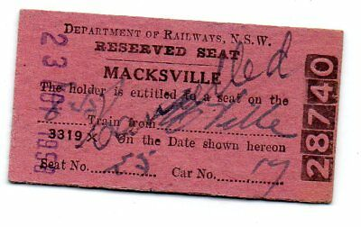 NSWGR Railway Ticket- Reserved Seat issued at Macksville  1958