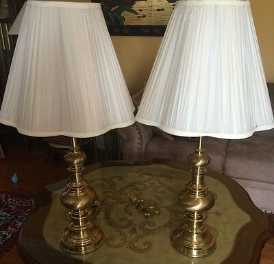 BRASS PAIR OF DESIGNER LAMPS, ELECTRIC, Working, With Harps, Finials, And