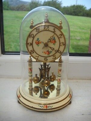 Vintage Anniversary Clock With Glass Dome.