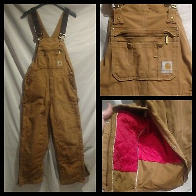 Mens Carhartt R41 Brown Tan Insulated Bib Overalls Well Used Size 36x30