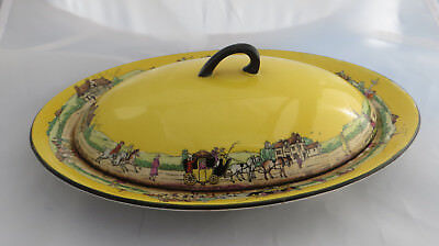 Vintage Henry Alcock Small Covered Serving/Breakfast Dish Yellow Coaching Scenes