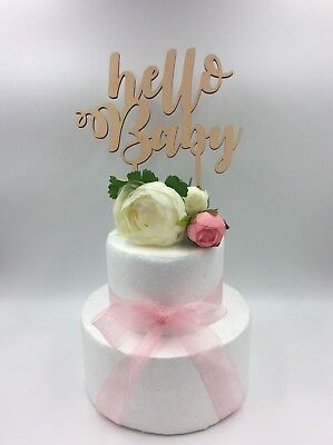 1Pc Laser Cut Cake Topper Hello Baby Shower Girl Boy Wooden Wood Birthday Party