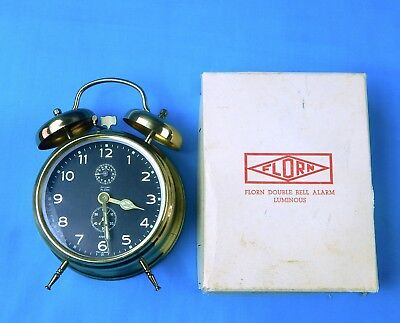 Vintage 1971 West German Germany Florn Duble Bell Brass Alarm Clock NEW w/ Box