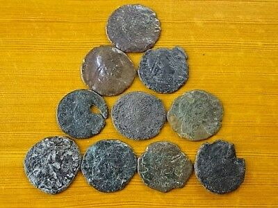 Lot of 10 Ancient Roman Bronze Coins 4th Century AD Very Rare