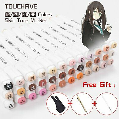 TOUCHNEW 24/36 Colors Skin Tone Dual Tip Twin Marker Pen Set Artist Drawing+Gift