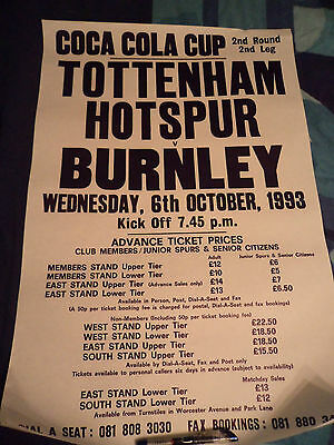 Tottenham Hotspur Ticket Office Poster V Burnley Original 1993/1994 Season