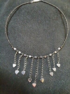 Unique Cleopatra collar choker of cubes and suspended heamatite hearts