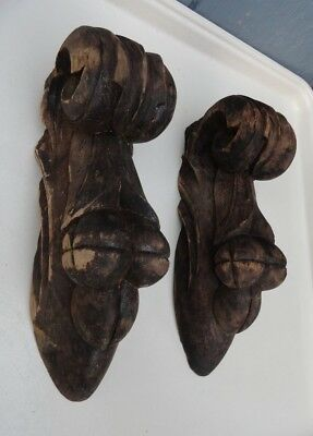 """Vintage Pair small carved wood corbels shelf brackets antique shabby chic 9 1/4"""""""