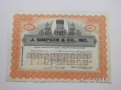 J.Simpson & Co., Inc.  09.07.1929,   38 Shares , Historisch