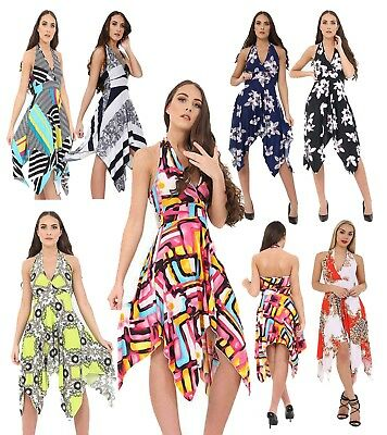 Womens Paisley Hanky Hem Top Halter Neck Ladies Sleeveless Summer Midi Dress Top