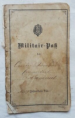 Antique 1884 First Reich German Military ID Pass document Berlin Conference