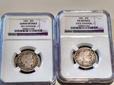 Lot of 2 1901 Barber Silver Quarters 25C NGC a VG Details & Good Details