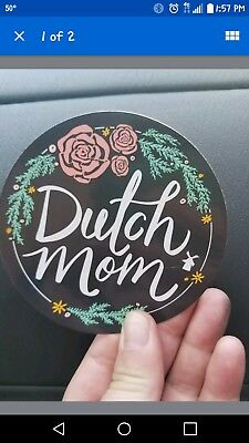 dutch bros dutch mom sticker with rose flowers. Brand new. Mothers day 2018.