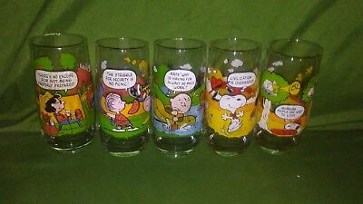 Vintage McDonalds Glasses-Camp Snoopy Collection-Full Set of 5