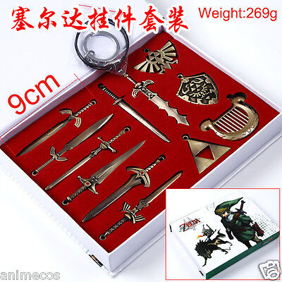The legend of zelda Link Shield Sword Pendant Necklace Keychain Weapons Set Box