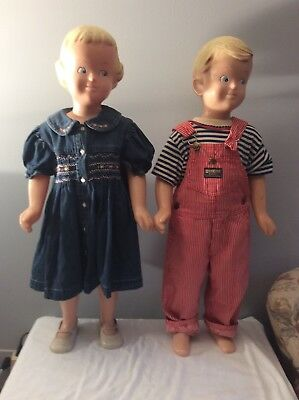 "Buster Brown And Girl Doll Store Display Mannequins, Vintage, 33"" Tall Original"