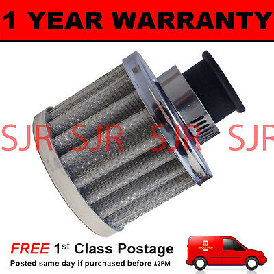 12mm MINI AIR OIL VENT VALVE BREATHER FILTER FITS MOST CARS SILVER ROUND