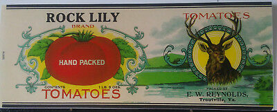 Rock Lily Tomatoes, E. W. Reynolds, Troutville, Virginia Can Label