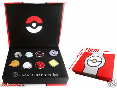 Pokemon Gym Badges Johto Region League Pins Brooches 8pcs New in Box Collection