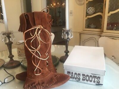 Vtg NEW!  TAOS Tall Leather Suede Moccasins Fringe Boot Woman Size 6 Brown  NIB