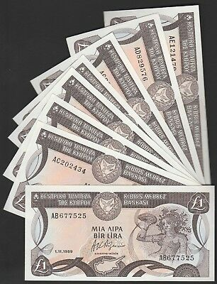 L46 CYPRUS complete set of 1989 issue,prefixes AB,AC,AD&AE, AU/UNC,incl. 5 cons!