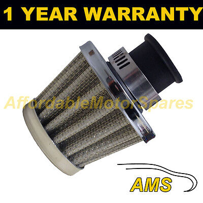 22Mm Air Oil Crank Case Breather Filter Motorcycle Quad Car Silver Cone
