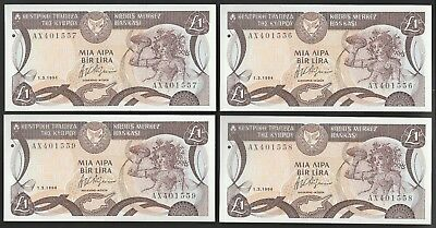 L51 CYPRUS 1 pound 1.3.1994, 4 UNC consecutive notes!