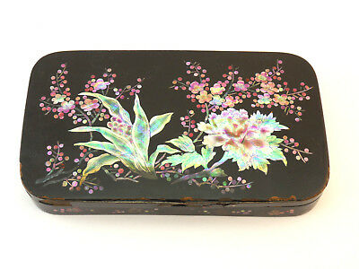 Antique Vintage Korean Black Lacquer Tin Inlaid Stained Mother Of Pearl Box