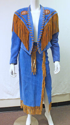 Phoenix USA Frontier Collection Blue Suede Western Fringe Skirt & Jacket Sm Med