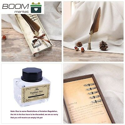 Bescar Antique Dip pen set Feather Calligraphy Pen -Quill Ink Pen with Extra 5pc