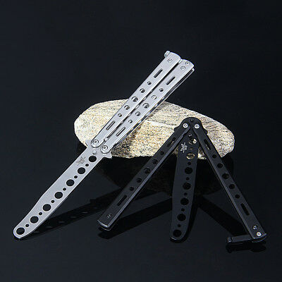 Steel Practice Butterfly Folding Knife Blade Pocket Trainer Training Dull Tool z