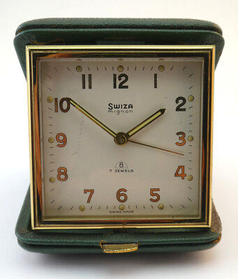 Working Vintage Swiss Made Swiza Mignon 8 Day 7 Jewel Folding Travel Alarm Clock