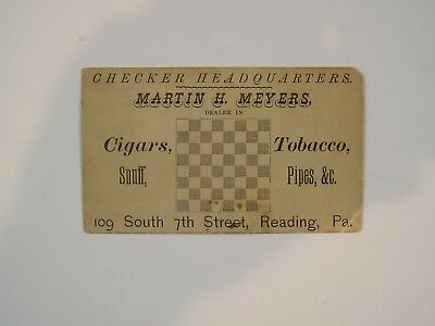 Checkers Headquarters Trade Card For Reading, PA. Dealer in Snuff, Cigars