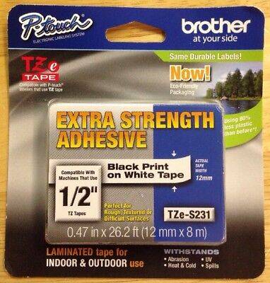 "Brother Tze Tape(1/2"")P-touch Tze-S231(Black)"