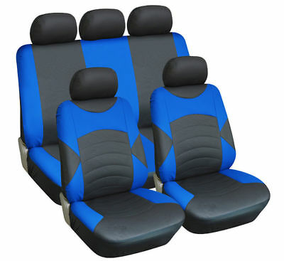 LEATHER LOOK CAR SEAT COVER FULL SET BLACK BLUE For CITROEN C3 PICASSO 09-ON