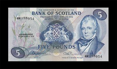 1.12.1975 Bank Of Scotland 5 Pounds (( Gem Unc ))