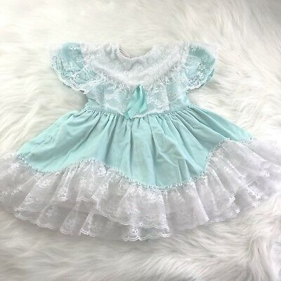 Vtg Fancy Girl Teal Lace Frilly Ruffle Party Dress Full Circle Skirt USA