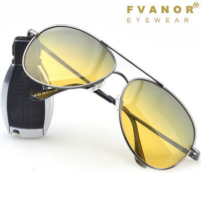 Day Night Vision Polarized Sunglasses Glasses Sport Mens Driving Aviator UV400