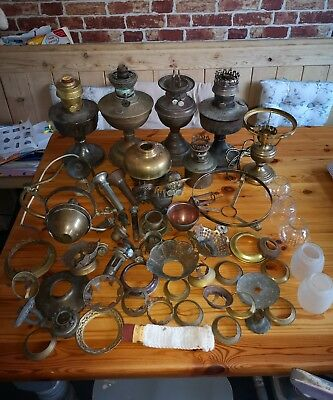 Vintage Job Lot Of Oil Lamps and Burners and parts