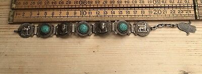 Great Vintage Egyptian Revival Bracelet With Pressed Turquoise Glass Stones Etc