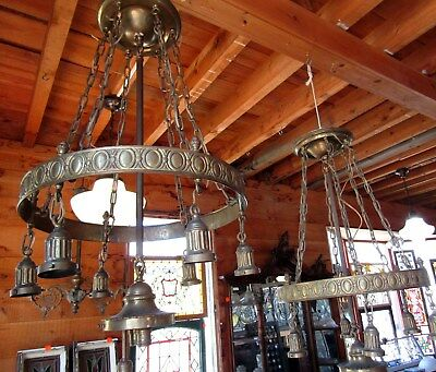 Pair Of Large Victorian Brass Hanging Chandeliers