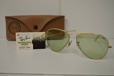 Vintage Bausch & Lomb RAY BAN Changeable Green Sunglasses With Case/Tag Aviators