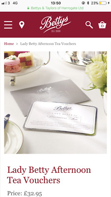 Two Lady Betty afternoon tea vouchers