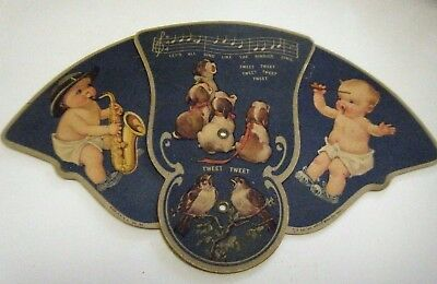 Vintage Folding Hand Held Paper Fan With Babies, Dogs And Birds
